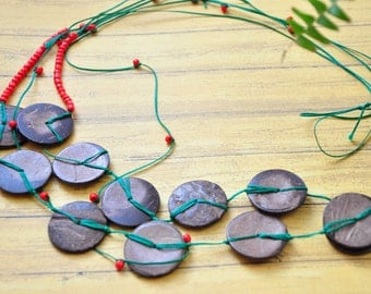 Wooden necklace/ simple beaded necklace/ natural wood jewelry/ two-strand necklace/ rustic country folk style/ boho hippie/