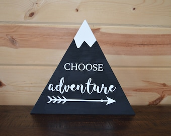 Choose Adventure Quote with Arrow Mountain Wood Sign Handmade Mountain Sign Quote