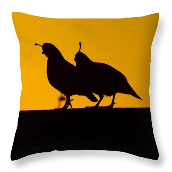 Quail at Sunset Throw Pillow