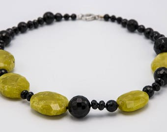 Black Onyx and jade necklace