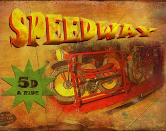 Speedway Ride Vintage Style Funfair Circus Canaval Metal Sign Ideal For Home Decor.Man-Cave Lovely Gift