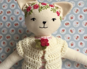 Pussycat doll with embroidery