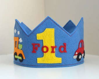 Transportation Crown, Car, Train, Plane, Dumptruck, Birthday Crown, Wool Felt Crown, Boy Crown, First Birthday, Smash Cake