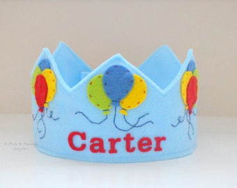 Birthday Crown, Wool Felt Crown, Balloons, Party Hat, First Birthday, Personalized, Velcro Closure, Smash Cake