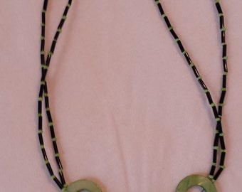 Lime green and black shell necklace