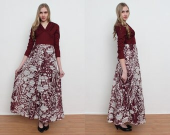Vintage Burgundy With White Flowers Long Dres/ Size 38