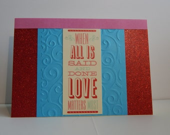 Love Card, Red Blue and Pink