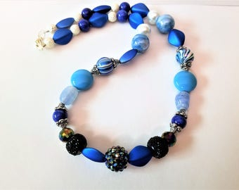 Glittering Bold Blue and Black Beaded Necklace with Silver Clasp, Light and Dark Blue Glass and Acrylic Beads