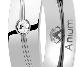 Alliance wedding shine made of pure titanium with cubic zirconia