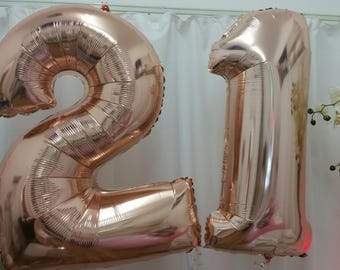 21st Birthday Balloon - Rose Gold Supershape Foil Balloon - 40inches (100cm) in height
