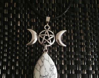 Triple Moon pentagram Goddess necklace with stone pendant
