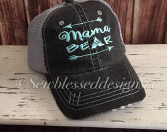 Mama Bear Hat* Embroidery Mama * Mothers Day Gift * Bear* Trucker Hat * Mesh Hat * Bridal Gift