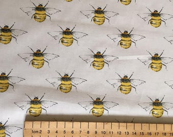 Bee Fabric 100% Cotton Ivory Yellow Bumble Bee