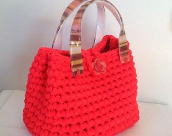 crochet bag #elegant handmade bag# amazing spring / summer bag # crochet with lurex ribbon#