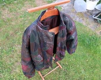 Multi patches Vintage antique leather jacket. Unique piece. Man