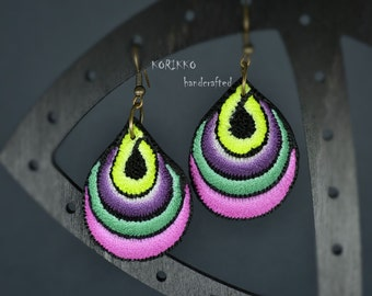 Teardrop polymer clay earrings, Handcrafted, Multicolor