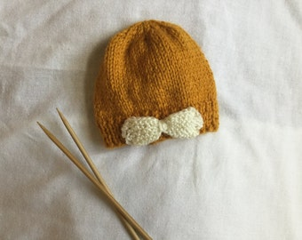 Knit Baby Beanie with Bow / Hand Knitted Baby Hat / Baby Hat with Bow / Baby Beanie / Knit Baby Hat