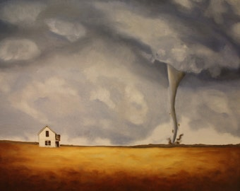 Tornado Original Oil Painting 22x28""