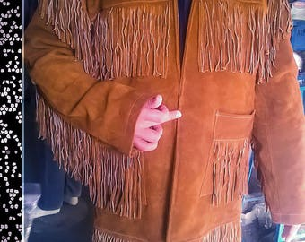 mens fringe jacket mens/fringed coat mens/mens cowboy coat/70s Vintage Clothing/western/leather jacket/suede/native american/pioneer/boho