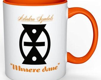 """Adinkra symbol Mug """"Mmere dane"""" meaning Changes in life"""