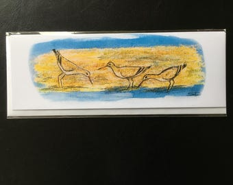 Bird art greetings card from an original drawing of godwits on sand.