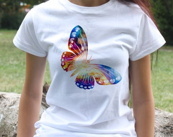 Butterfly T-shirt - Animal Tee - Fashion women's apparel - Colorful printed tee - Gift Idea