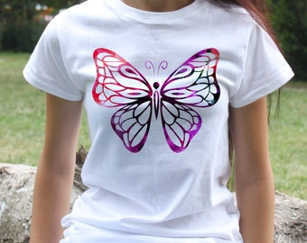 Colorful Butterfly T-shirt - Art Tee - Fashion women's apparel - Colorful printed tee - Gift Idea