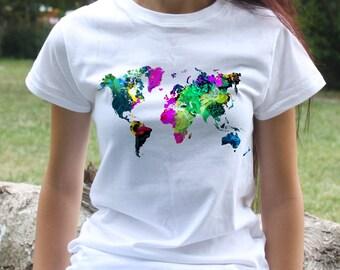 World Map Tee - Art T-shirt - Fashion women's apparel - Colorful printed tee - Gift Idea