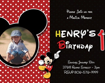 Mickey Mouse Birthday Invitation Card | Birthday Invitation Card | Mickey Mouse Birthday Card | Printable Birthday Card