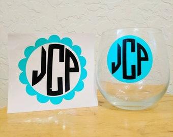 Monogrammed wine glass!