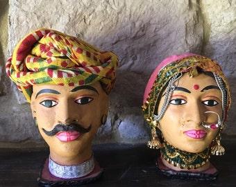 Miniature Mannequin Heads Folk Man Woman Hand-made Decorative Rajasthani Traditional