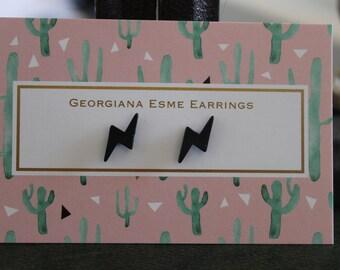 Lightning Bolts Stud Earrings Black or Gold Georgiana Esme Punk