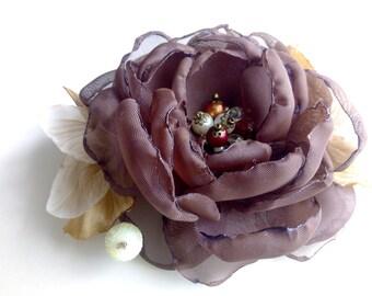 Flower hair clip, brown chiffon flower, peony fabric, boho hair flower, Shabby Chic flower, brown Boho Flower, alligator hair clip,