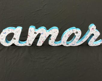 Letters in wood custom, decorated, painted, handmade, handmade, scrapbooking