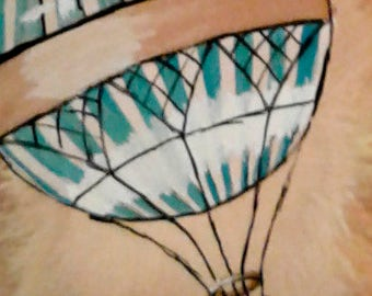 Blue/White Hot Air Balloon