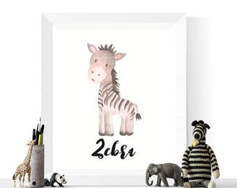 Zebra Print | Zebra Watercolor Printable | Zebras | Watercolour |  Safari Animal Art | | Nursery Print | Zebra Art | Printable