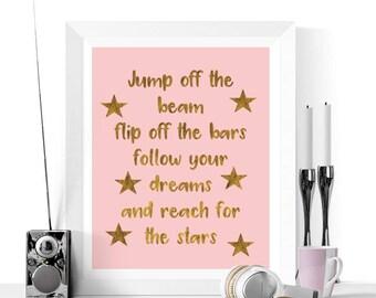 Gymnastics Quote Art Printable | Nadia Comaneci Quote | Gifts for Gymnasts | Pink and Gold | Gymnastics Print | Pink Quotes | Gymastics Art