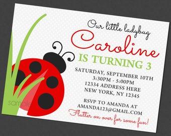 Little Lady Bug Birthday Invitation