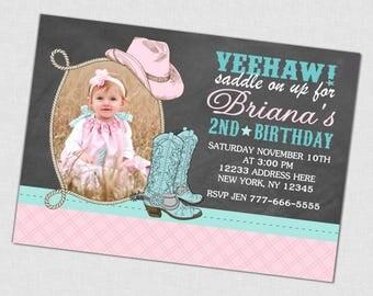 Cowgirl Birthday Photo Invitation