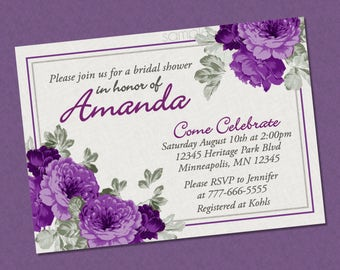 Beautiful Elegant Floral Bridal Shower Invitation