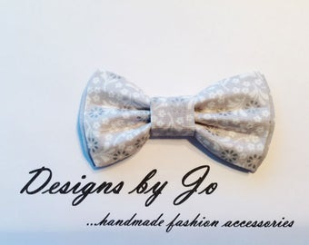 Boys Bow Tie, Grey Floral Bow Tie,Boy's Bow Tie, Bar Mitzvah Bow Tie, Wedding Bow Tie,Grey Bow Tie for Men,Baby Bow Tie, Easter Bow Tie B668