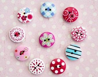 10 piece wooden buttons, craft buttons, mixed colors. Ø 15 mm