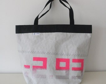 Small tote recycled sail and manual silkscreen. bzh production!