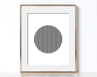 Black and White Print Circle Print Circle Art Digital Download Stripes Print Black and White Stripe Prints Printable Art Minimalist Bedroom