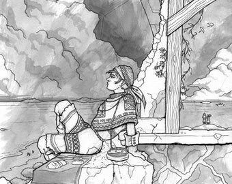 Fantasy ink artwork - Lenorian girl having a picnic by the sea - Digital download