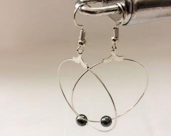 hematite beads,large hoop earwear,very large hoops,big hoop earrings,wire earrings,hematite earrings,earrings for women,earrings for gifts,