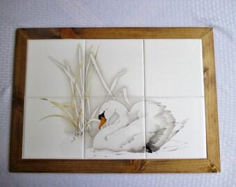 Swan on The Lake, framed mural, mural, decorative tile, wall hanging, wall decor, bathroom decor, backsplash, custom tile, framed tile, tile