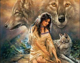 Native American Lady and Wolf