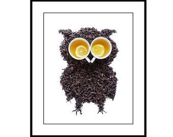 Wall Print - Kitchen art photography - Tea Leaf Owl_Lemon Tea Eyes - fine art by Cath Lowe