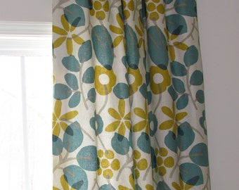 Custom Made Fully Lined Tabbed Wide Curtain Panel
